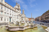 Sant'Agnese in Agone Church and the Fontana Del Moro in the Piazza Navona  Rome  Lazio