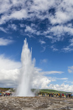 Tourists Gather to Watch Strokker Geyser (Geysir)  an Erupting Spring at Haukadalur  Iceland