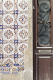 Detail of Traditional Painted Ceramic Azulejos Tiles and Doorway  Ilhavo  Beira Litoral  Portugal
