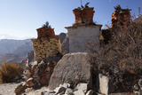 Nepal  Mustang Chortens and an Ancient Stone Carving En Route Between Samar and Giling