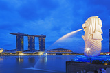 South East Asia  Singapore  Merlion and Marina Bay Sands