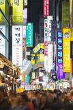 Asia  Republic of Korea  South Korea  Seoul  Neon Lit Streets of Myeong-Dong