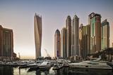Dubai Marina at Sunset with the Cayan Tower (Infinity Tower)