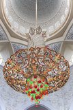 Interior Architectural Detail and Chandeliers of Prayer Hall in the Sheikh Zayed Mosque
