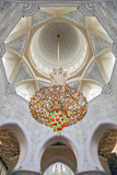 Interior Architectural Detail and Chandeliers of Prayer Hall  Sheikh Zayed Mosque
