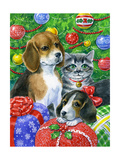 Puppies and Kitten under the Tree