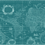 Blueprint World Map  Teal