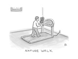 Nature Walk -- A man walks on a treadmill  while holding a potted plant in - New Yorker Cartoon