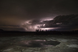 Clouds Lit by Lightning at Middle Geyser Basin in Yellowstone National Park