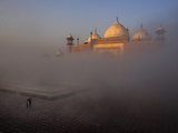 Fog Coming Off of the Yamuna River Lifts Above a Side Mosque to the Taj Mahal