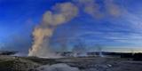 Steam Rises from Erupting Geysers Lower Geyser Basin