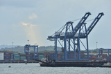 Cargo Container Cranes at a Dock on the Atlantic Side of the Panama