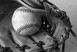 Detail Shot of a Baseball and Baseball Glove