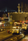 A Massive Panamax Ship Enters the Pedro Miguel Locks in the Panama Canal at Night