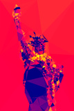 Low Poly New York Art - Red Lady Liberty