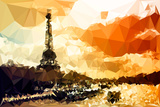 Low Poly Paris Art - Paris Sunset