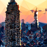Low Poly New York Art - Skyscrapers Sunset II