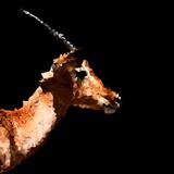 Low Poly Safari Art - Antelope Profile - Black Edition