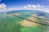 Aerial View of the Seven Mile Bridge Near Marathon Island in the Florida Keys