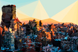 Low Poly New York Art - New York Sunset Pastel