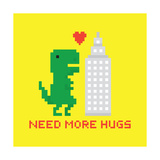 Need More Hugs T-Rex and Skyscraper