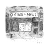 """A bar advertising a """"Schadenfreude Hour"""" - New Yorker Cartoon"""