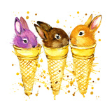Funny Rabbit and Ise Cream Watercolor Illustration