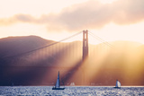 Golden Light Beams and Boats  Beautiful Golden Gate Bridge  San Francisco Bay