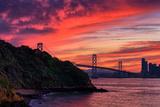 Deep Red Sunset at Treasure Island  San Francisco Bay Bridge
