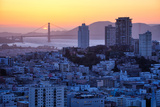 Sunset Behind Golden Gate Bridge  Downtown San Francisco