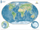 2014 Physical World Map - National Geographic Atlas of the World  10th Edition