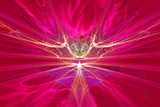 Mysterious Alien Form Magnetic Fields in the Red Sky Fractal Art Graphics