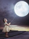 Fairy Portrait of a Little Cute Girl with a Moony Balloon Papier Photo par Konrad B?k