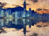 Skyline of Hong Kong Island Papier Photo par Sean Pavone