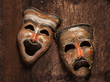 Comedy and Tragedy Masks Lying