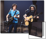 Musicians Bob Weir and Jerry Garcia of Rock Group Grateful Dead Performing