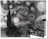 The Starry Night  June 1889 (Black & White)