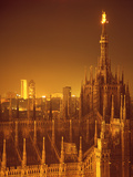 "The Duomo Topped by an Illuminated Statue of the ""Madonnina""  Milan  Italy"