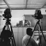 Otto Winzen Speaking to Press About the Man High Project  Minneapolis  Minnesota  1957