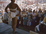 Audience Gathers to Watch a Dancer in a Two-Piece Costume at the Iowa State Fair  1955