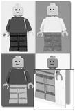 Lego Minifigure Man Quad Black White Pop-Art Poster