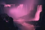 Iquassu (Iguacu) Falls on Brazil-Argentina Border  Once known as Santa Maria Falls  at Twilight