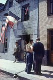 Civil Affairs Building in La Haye Du Puit Decorated with American and French Flags  France  1944