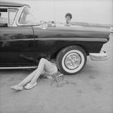 "All-Girl ""Dragettes"" Hotrod Club Working on Car Engine with Children  Kansas City  Kansas  1959"