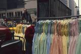 Push Boys Steer Racks of Dresses across Road in the Garment District  New York  New York  1960