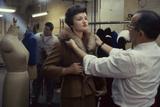 Max Matlick  of Zelinka-Matlick  Adjusting Collar on Model Vera Bartul  New York  New York  1960