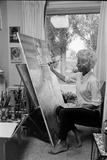 American Artist Margaret Keane Painting in Her Studio  Tennessee  1965