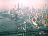 Helicopter Views of New York City's Manhattan and Brooklyn Bridges