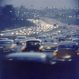 Traffic on Freeway in Los Angeles  California  1959
