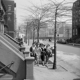 Teenage Girls Walking Down Sidewalk in Brooklyn  NY  1949